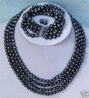 Hot Fashion Jewellery set Beautiful 4 rows black pearl wedding Necklace bracelet earring Set free shipping