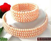 Hot Fashion Jewellery set Beautiful pink pearl wedding Necklace bracelet Set free shipping