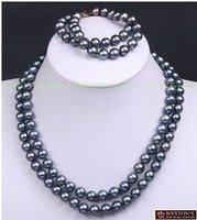 Hot Fashion Jewellery set Beautiful  2 rows black pearl wedding Necklace bracelet Set free shipping