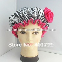 Fashionable Leopard Grain Satin shower cap