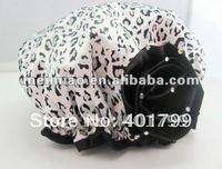 Leopard Satin shower cap