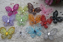 5 cm silk butterfly,Christmas decorative butterfly,Christmas DIY crafts,scrapbooking/card making products,decorative flower(China (Mainland))