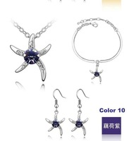Color 10 Free Shipping Starfish Fashion Crystal Jewelry set Plating Platinum #18KS062-10