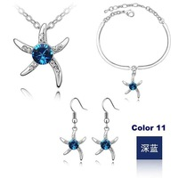 Dark blue Free Shipping Starfish Fashion Crystal Jewelry set Plating Platinum #18KS062-11