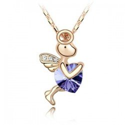 K086 Fashiom poem element crystal necklace angels love god Cupid mixed colors Free shipping