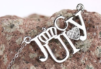 """juicy"" letter alloy necklace  jewels  pendant hanging amulet colorful stones  wholesale"