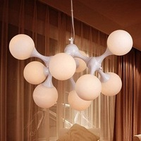 9 Lights Hanging Lamp with White Glass Balls
