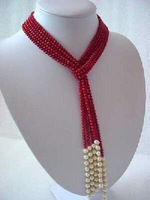 Hot Fashion Jewellery Beautiful red coral & white pearl beads scarf necklace big shell clasp free shipping