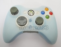 Wholesale - - Free Shipping lignt blue 10pcs/lot Silicone Skin Case Cover for 360 Game Controller