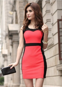 Free Shipping  2013 Summer Vintage Sexy Mini Sheath Causal Color Matching Sleeveless Slim-fitting Women dresses 2692FWG