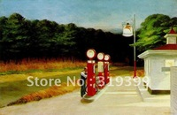 Oil Painting Reproduction,Gas Station By Edward Hopper,Free Shipping via FeDex or DHL,100% handmade,EH010