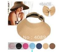 12-0009Hot Fashion Women's/childrens  Foldable Wide Large Brim Floppy Summer Beach Sun Straw Hat Cap Free Shipping