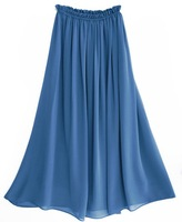 S2002-12  Jean blue color chiffon 2011 new women's A shape long chiffon skirt with full linning drop shipping support