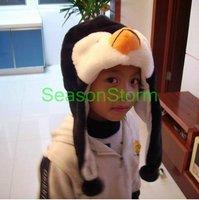 [CPAP Free Shipping] Wholesale Plush Cartoon Penguins Ear Muff Hat / Halloween Winter Cap 50pcs/lot (SL-07)