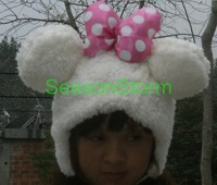 Min Order $20 (mixed order) Retail Plush Cartoon Minnie Ear Muff Hat / Halloween Winter Cap 2 Color  (SL-08)