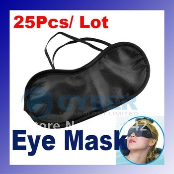 Wholesale 25Pcs/ Lot Eye Cover Blinder Mask Shade Eyepatch Blindfold Black for Travel Sleeping Rest