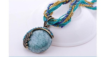 2012Bohemian Pure Manual Short Sweater Chain Multicolor Crystal Stone Vintage  Necklace Beads Jewerly NL089012