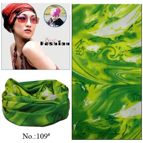 100pcs/lot Wholesale Nice Popular Outdoor Sport Green Polyester Seamless Multifunctional Headwear Tube Bandana (Mixed Design OK)(China (Mainland))