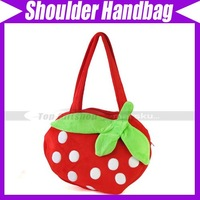Girl/Boy Children Strawberry Shoulder Plush bag Dressing Up Shoulder Bag Handbag Purse Zipper Closure#3093