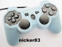 Wholesale - - Color Free Shipping lignt blue 5pcs/lot Silicone Skin Case Cover for PS3 Game Controller