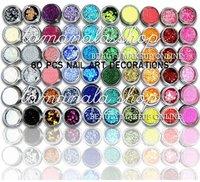 60 PCS 12 Color Nail Art Glitter Powder Shell Dust Acrylic UV Gel Tips Salon SetColor