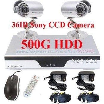 2Pcs 36LED Sony CCD Security camera 500G H.264 Net DVR CCTV surveillance system