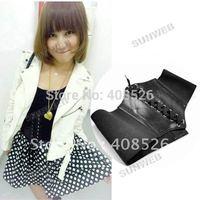 New Fashion Women's Beautiful Stretchy Wide Black Faux Leather Corset Waist Belt Free Shipping 38