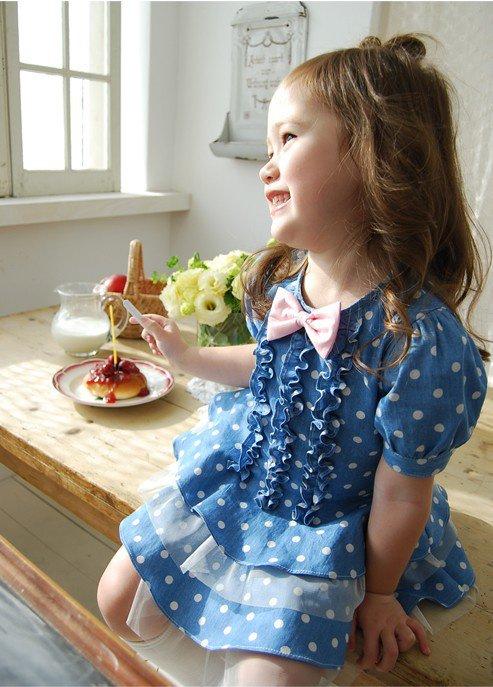 Cute Baby Girl in Blue Dress Baby Girl Cute Design Blue