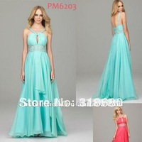 A-line Spaghetti Straps Jewelry Beaded Waistband Keyhole Front Aqua Chiffon Evening Dress Fashion 2012