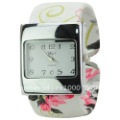 Free Shipping Graceful Square Dial Band with Pattern of Flower Quartz Bracelet Watch for Ladies