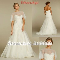 Sweetheart Pleated Dropped Waist Fit And flare White Bridal Wrap Gown