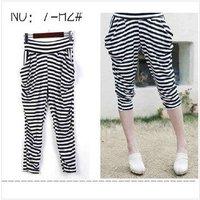 Harem pants seventh milk silk black and white striped leggings.
