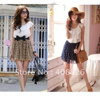 2014 Summer Women Fashion Trendy Korean Lace Chiffon Mini Dress Outfit without blet 2 colors free shipping 3803
