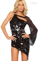 Женское платье Glorious Sexy One-shoulder Sleeveless Lace Inserts X Rhinestone Buckle Bodycon Party Mini Dress Black, White V25DR65L