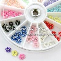 60 Pcs 3D Ceramic Flower Rose Rhinestone Nail Art Tips Craft Decoration Set 06  HB-Dec3DFlower06*60