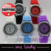 Silicone watch Geneva round jelly fashion watches geneva diamond watch 10pcs/lot free ship airmail HK