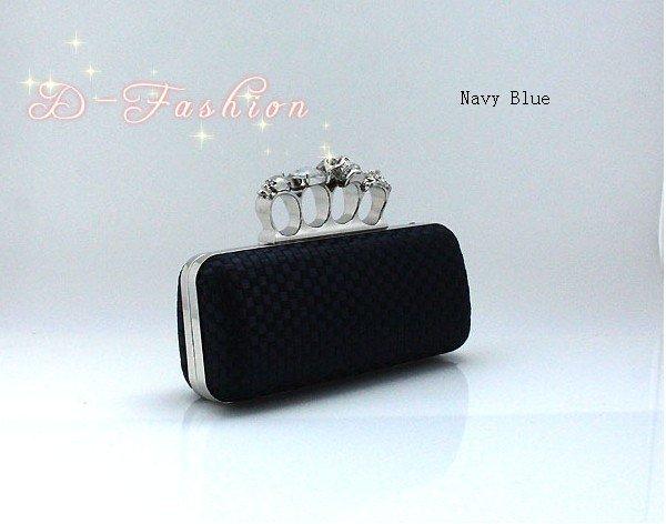 Ladies Skull Clutch Knuckle Rings Handbag, Four Fingers Evening Bag Clutch Purse Wedding bag Navy Blue Free shipping 03918(China (Mainland))