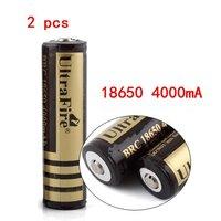 HK post Shipping,2x Brand New UltraFire 18650 3.7V Rechargeable Battery 4000mAh for LED Flashlight,Digital Camera,Laser pen.