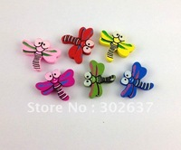 60PCS Mixed colours wooden dragonfly Beads #20768