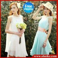 free shipping sale 2014 new summer fashion women's vest dresses flouncing solid color chiffon dress belt  lady SWS100