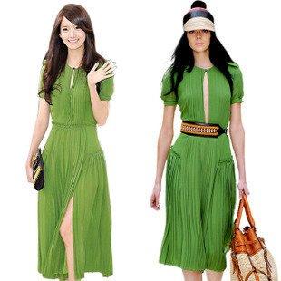 Long Sleeve Maxi Dress on Long Maxi Dress Chiffon Green Round Collar Short Sleeve Long Dress