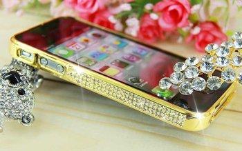 bumper for iphone4/s, bling Diamond Aluminium Bumper,  silver, golden, 1pcs free ship