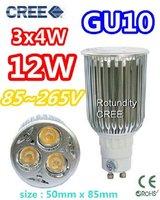 Retail  High power CREE GU10 3x4W 12W AC 85~265V  Light lamp Bulb LED Downlight Led Bulb Warm/Pure/Cool White