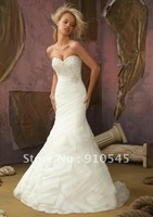 Designer Affordable Crystal Emboidery and Organza 2012 Wedding Dress China White Ivory