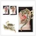 Free Shipping  New Design Hoop Earrings Chinese Dragon Cuff Earrings Ear Cuff Chain Alloy Earrings 2Colors Available