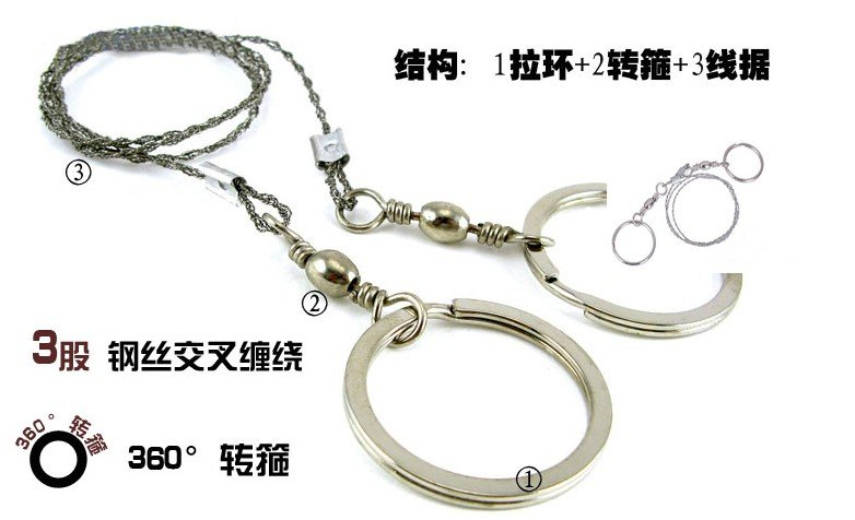 Force Commando Stainless Steel Compact Wire Saw Emergency Cord Camping Hunting Survival Tool DHL Free Shipping(China (Mainland))