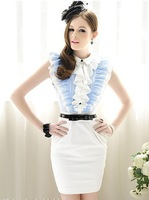 Женское платье S-L manufacturers supply Women's Blue flouncing bow Slim dress #69821