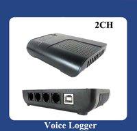 2pcs/Lot 2port USB Telephone Recorder,Voice recording Recorder,Phone Recorder box ,Telephone recording box,Voice logger