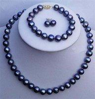 JL 9-10mm Black FW Pearl Necklace Bracelet Earring