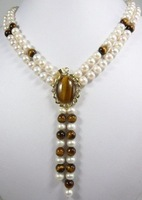 Beautiful Jewelry white pearl & tiger eyes necklace
